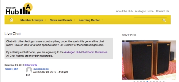 The Hub's live Member Chat room